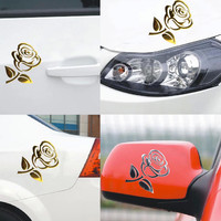 1PCS 10.5*8.5cm 3D Silver Golden Stereo Cutout Rose Car Vehicle PVC Logo Reflective Car Sticker Decal Flowers Art Hot Sale