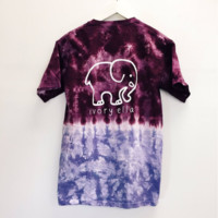 TIE DYE GRADIENT CUTE BABY ELEPHANT HIGH QUALITY PRINT T-SHIRT TOP