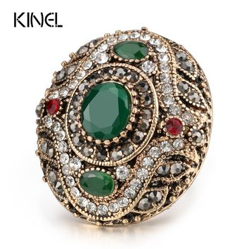 Kinel New Arrival Antique Rings For Women Gold Color Vintage Wedding Bands Ring Sets Engagement Jewelry Crystal Gift