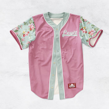 Blue Floral Sleeves Cheetah Baseball Jersey