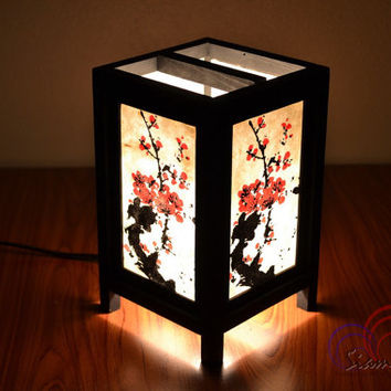 Bamboo Lamp Thai Vintage Wooden Table Lantern Mei Flower Style Size S by SiamLight