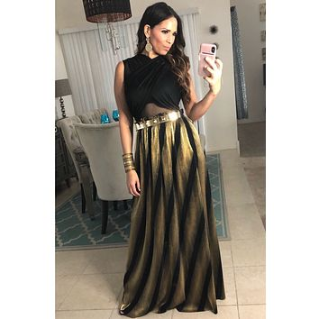 Metallic Gold Black Pleated Maxi Skirt