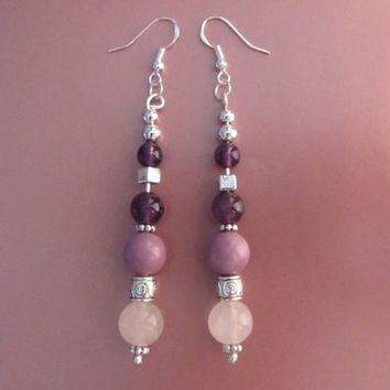 "Sterling Silver, Phosphosiderite, Rose Quartz, Amethyst and Silvertone Bead Dangle Earrings 3.25"" - 13.68g"