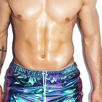 Holographic Running Shorts- Blue