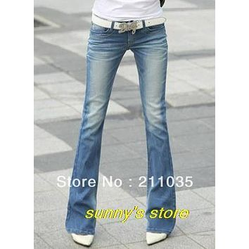 Hot Sale Woman Bell bottom flare pants jeans wearing white denim trousers female slim low-waist elastic summer pants  QC