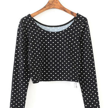 Black Polka Dot Long Sleeve Cropped Top