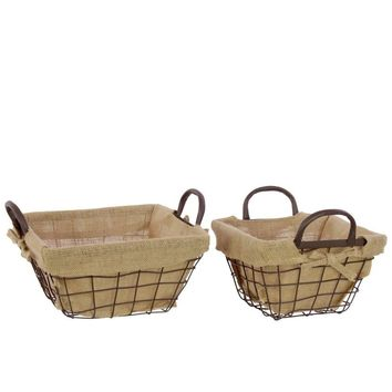 Set Of 2 Metal Wire Basket Lined With Fabric With Metal Handles