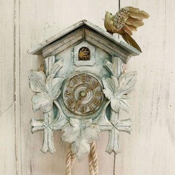 Vintage Cuckoo clock rhinestones bird wall decor Shabby chic coocoo clock blue distressed