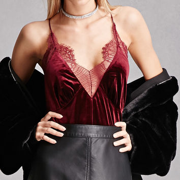Eyelash Lace-Trim Velvet Cami