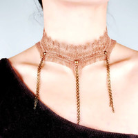 SALE brown lace tassel choker bib // lace necklace //gothic vintage retro choker// party cocktail jewelry gift