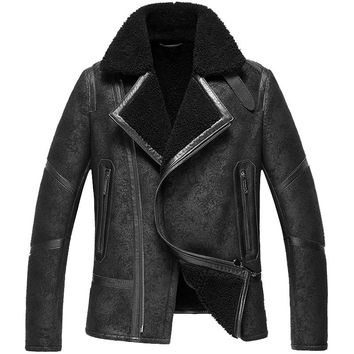 Men's Lamb Fur Jacket Double-Face Fur Coat Sheep Fur Leather Jacket Fashion Slim Short Casual Jacket Turn-down Collar   GSJ126