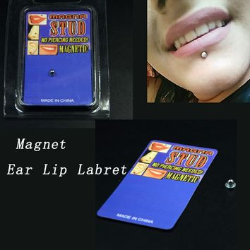 1Pcs Stainless Steel Fake Cheater Piercing Non Pierced Magnet Ear Lip Labret Nose Ring No Piercing Magnetic Tunnel Plugs Earring