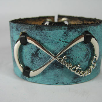 One Direction Jewelry Leather Cuff Bracelet 1D Infinite Directioner Infinity Necklace Harry Styles Turquoise Blue