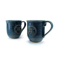 Blue Mugs with Coqui (Tree Frog)