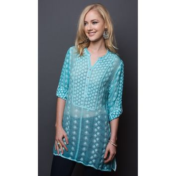 Adoire Dupont Turquoise Boho Embroidered Silk Tunic Dress