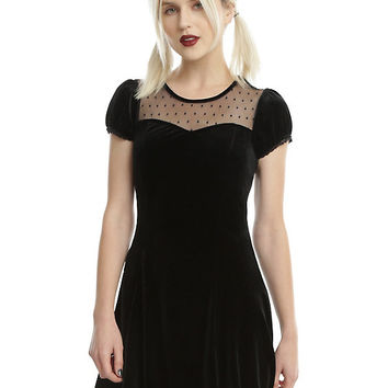 Black Velvet Swiss Dot Yoke Dress