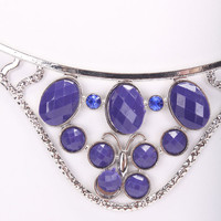 Silver Blue Gemstone Design Rhinestone Accent Detailed Carved Necklace