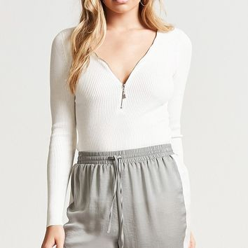 Zip-Front Ribbed Top