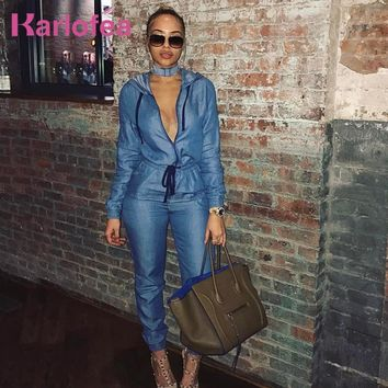 Karlofea Winter Long Sleeve Denim Jumpsuit Blue Jeans Streetwear Fashion Rompers With Hooded Waist Drawstring Jumpsuits
