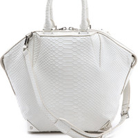 Alexander Wang White Small Emile Python Embossed Satchel