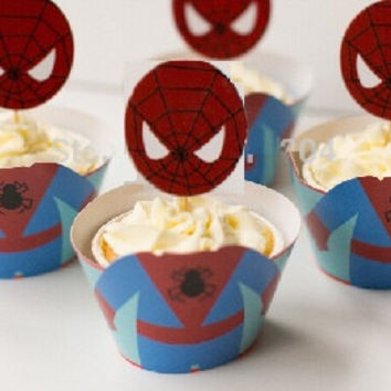Cute Spiderman Cupcake Holders, Superhero Cupcake Holders, 3 Dimensional spiderman cupcake holders