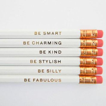 Gentle Reminders Pencils  White Set Of 6