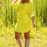 Little Miss Sunshine Dress: Yellow/White