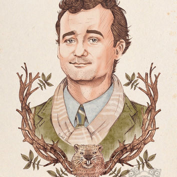 BILL MURRAY Portrait - Movie Poster - Groundhog Day - Limited Edition - Wall Art - Digital Print - Illustration - A3 Print