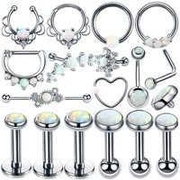 New Silver Opal Stone Nose Stud Septum Clicker Rings Opal Ball Closure Lip Ear Tragus Piercing Belly Rings Sexy Earring Jewelry