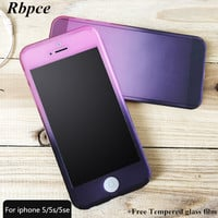 Hot fashion gradient color Scrub slim PC case for iphone 5 5s 5SE 4.0 inches 360 degree full cover for iphone 5 5s 5se case