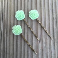 Mint Green Colored Flower Bobby Pin Set of Three - Three Mint Green Flower Bobby Pins