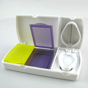 Medicine Pill Box Tablet Case Pocket Container w/ Knife