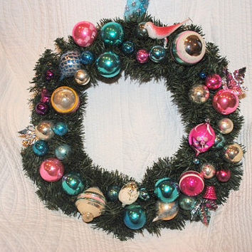 Vintage Christmas wreath, Christmas wreath, ornament wreath, holiday wreath, vintage ornament christmas wreath