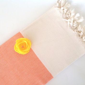 Organic Turkish Towel, Peshtemal, bath, yoga, spa, hammam, Natural Soft cotton, Elegant orange color, Special Production, valentine's day
