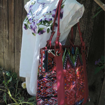 Beautiful Guatemala hand woven tote with leather pink tones