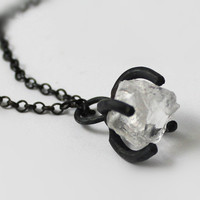 Handmade Silver White Crystal Necklace, 925 Silver Crystal Rock Necklace, Unique Gift