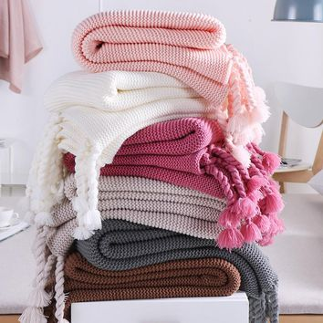 1PCS Solid Color Crochet Tassel Blanket Knitted kids baby Blanket Soft Throw Blankets on Sofa/Bed/Plane Travel Air Conditioning