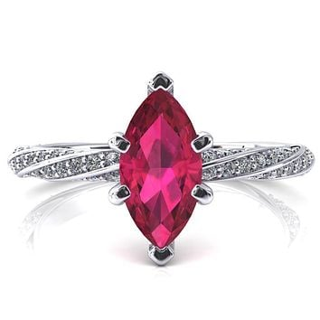 Elysia Marquise Ruby 6 Prong 3/4 Eternity Diamond Accent Ring