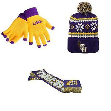 Licensed NCAA LSU Tigers Spirit Scarf Fogbow Beanie Hat And Glove Solid Knit 3Pk 35230 KO_19_1