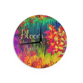 "Ebi Emporium ""Bloom Where You're Planted"" Floral Wall Clock"