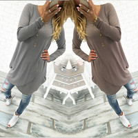 Sexy Women's O-neck Casual Loose Long Sleeve Dress & Irregular Hem Solid Dress For Women Ladies Autumn Clothings LX006