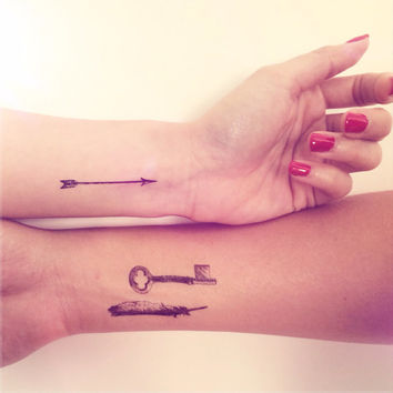 3pcs Vintage Key Arrow Feather Tattoo - InknArt Temporary Tattoo -  pack tattoo collection quote anchor bird love body sticker wrist