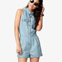 FOREVER 21 Day Trip Chambray Romper w/ Slit Back Light Denim Medium