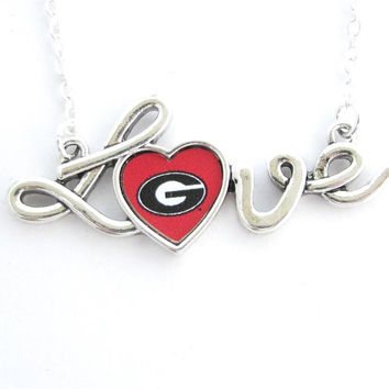 Georgia Bulldogs NCAA Love Script Silver Necklace