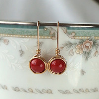 Red Wedding Swarovski Pearl Earings, Wire Wrapped Jewelry Handmade,  Pearl Dangle Earrings, Red and Gold Wedding