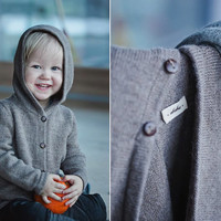 Hooded brown sweater/ baby alpaca brown gray knit hoodie /  wool jacket /  baby / boy / girl / toddler