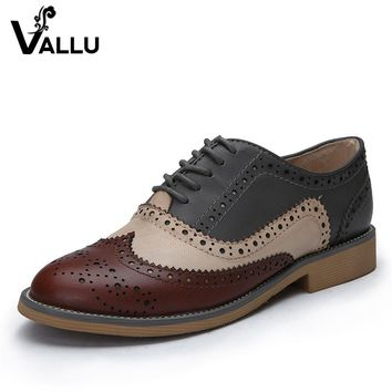 2016 Genuine Leather Shoes Women Brogues Oxfords Flat Heels Round Toe Handmade Women Casual Shoes Plus Size 42
