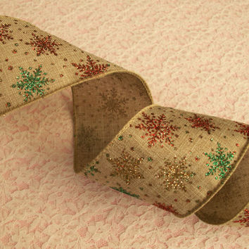 """Christmas Ribbon, Multicolor Snowflakes Ribbon, Wired, 2 1/2"""" Wide, Baskets, Bows, Wreaths, Holiday Home Decor, Ribbon Decorations, 4 YARDS"""