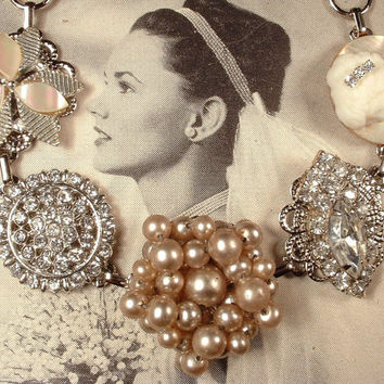 Champagne Ivory Pearl, Rhinestone & Cameo Bridal Bracelet, Antique Silver 1920s Cluster Earring Great Gatsby Vintage Wedding Bridesmaid Gift