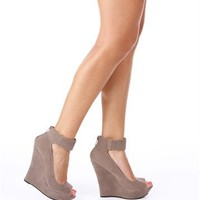 Taupe Peep Toe Wedges